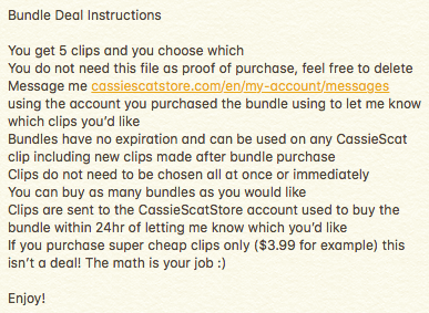 YOU CHOOSE 5 CassieScat Clips Bundle Deal SALE